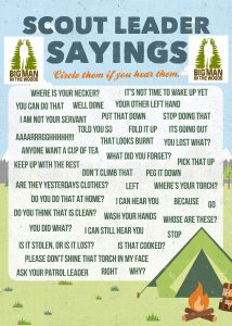Scout Leader's sayings Bingo Game